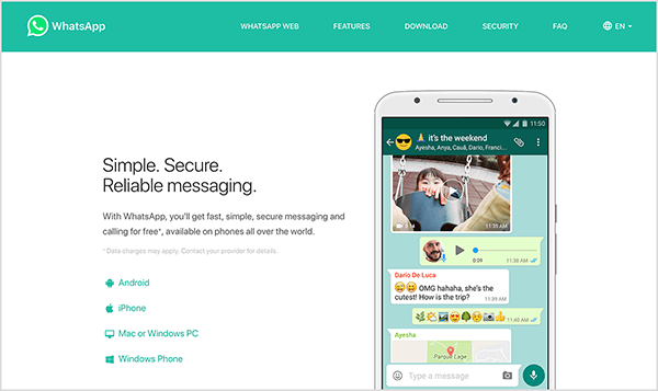 """This is a screenshot of the WhatsApp website. In the upper left is the WhatsApp logo, a white telephone handset icon in a green speech bubble. The website header has a green background and the following navigation options on the right, in white text: WhatsApp Web, Features, Download, Security, FAQ, and a language selection menu. The main area of the website has a white background. On the left is a heading in black text that says """"Simple. Secure. Reliable messaging."""" Below this heading is the following text: """"With WhatsApp, you'll get fast, simple, secure messaging and calling for free*, available on phones all over the world."""" In small gray text is a note about the asterisk: """"*Data charges may apply. Contact your provider for details."""" Below this text is a list of icons with the following labels: Android, iPhone, Mac or Windows PC, Windows Phone. On the right side of the website is an image of a smartphone screen with a chat window that illustrates the types of messages you can send with WhatsApp, including a photo, an audio clip, text and emojis, and a map/location. Natasha Takahashi says bot capabilities might soon come to other messaging tools like WhatsApp."""