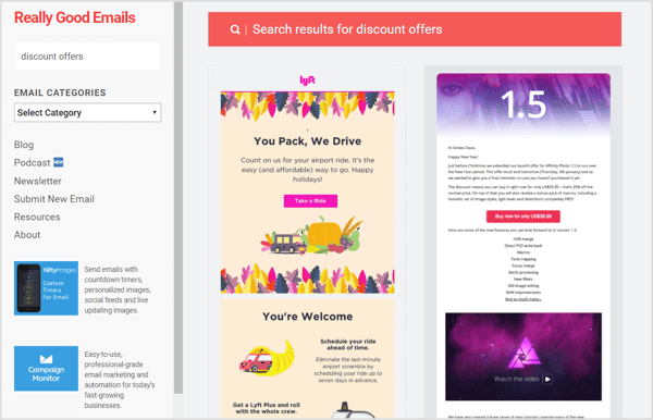 Really Good Emails lets you see the email campaigns of the top brands in your niche.