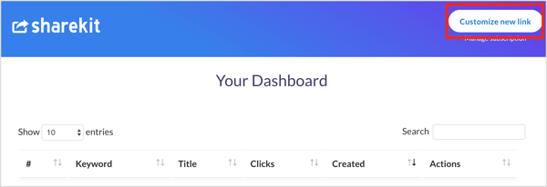 Click the Customize New Link button in ShareKit.