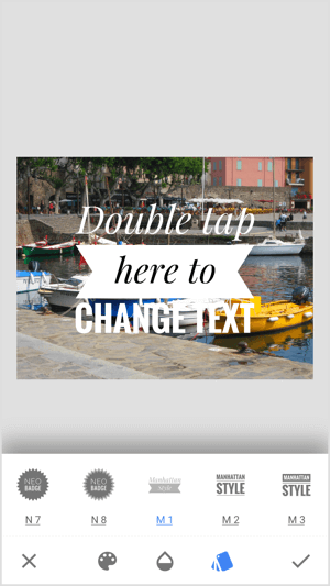 Double-tap on the placeholder text in Snapseed and start typing.