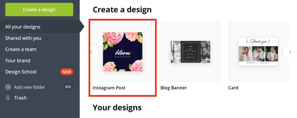 Example of an Instagram post template in Canva.