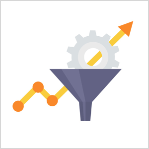 This is an illustration of a dark gray funnel. A light gray gear is dropping into the funnel. Behind the funnel and gear, a yellow arrow that represents a line graph goes up, down, and then up. Orange dots representing data points appear where the yellow line changes direction.