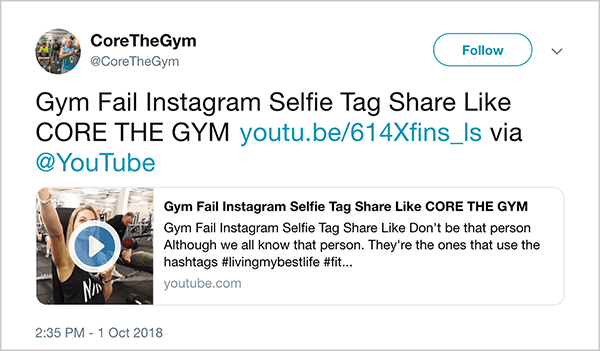 "This is a screenshot of a tweet from @CoreTheGym. The tweet says ""Gym Fail INstagram Selfie Tag Share Like CORE THE GYM"" and links to a YouTube video. The video description is ""Don't be like that person. Although we all know that person. They're the ones that use the hashtags #livingmybestlife"". The link for the video is youtu.be/614Xfins_ls."