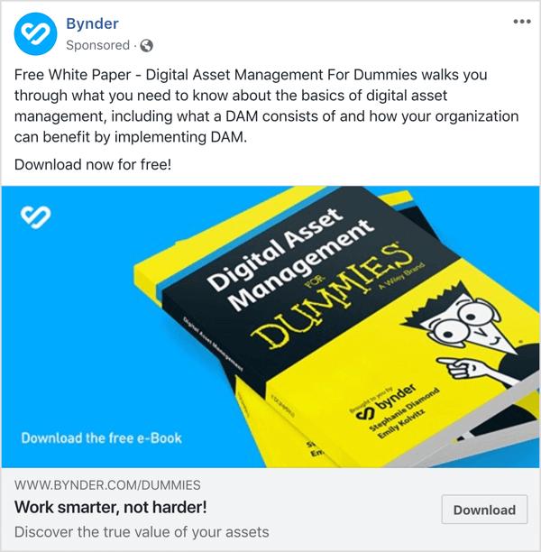 Beispiel für eine Facebook-Anzeige oben im Trichter