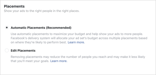 Automatic Placements option selected for Facebook campaign