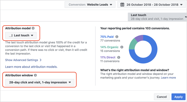 Select the default reporting window of 28-Day Click and Visit, 1-Day Impression.