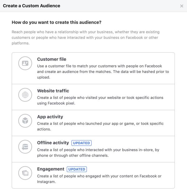 Opties voor Hoe u dit publiek wilt maken voor uw aangepaste Facebook-doelgroep.