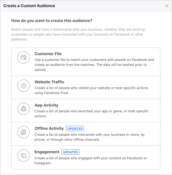 Options for creating a Facebook custom audience