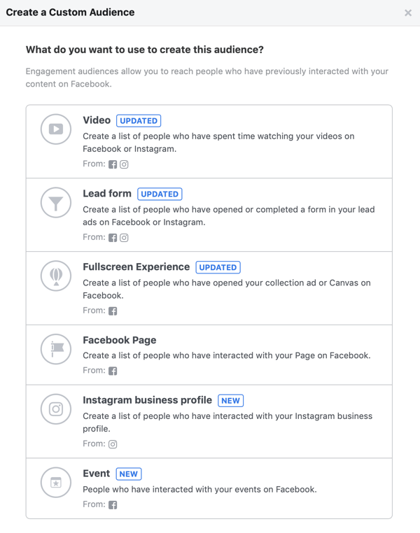 Opties voor wat u wilt gebruiken om dit publiek te maken voor uw aangepaste Facebook-doelgroep.