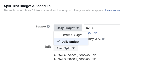 Select Daily Budget for the ad budget