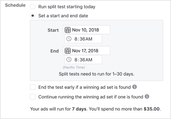 Select the Set a Start and End Date option for Facebook split test.