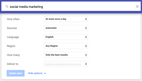 Settings for the frequency, sources, language, region, volume, and delivery method of your Google alert.