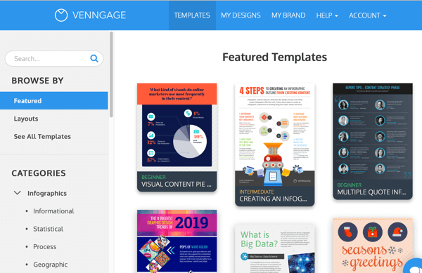 Examples of Venngage featured templates for infographics.