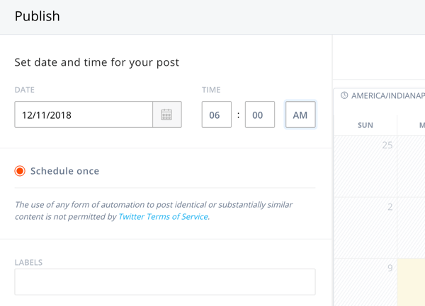 Setting options when scheduling your draft Agorapulse post.