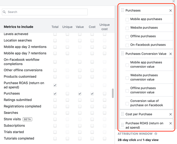 Example of desired metrics for the third column of the reporting creation window in Facebook Ads Manager.