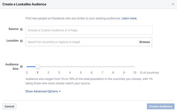 Option to create a 1% Lookalike audience for your Facebook ads.
