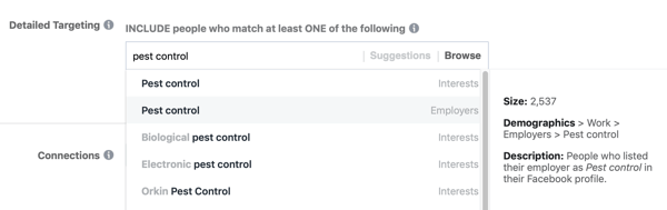 Example of standard facebook targeting for the interest Pest Control resulting in an audience that is too small, at 2,500.