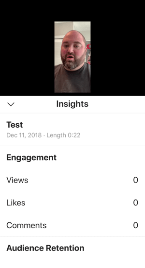 Example of IGTV video insights.