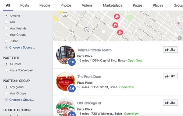 Facebook-zoekresultaat voor pizza.