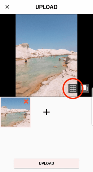 Tapping the Planoly grid icon will allow you to split your image into multiple posts.