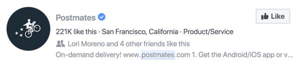 Postmates Facebook-zoekpagina op Facebook.