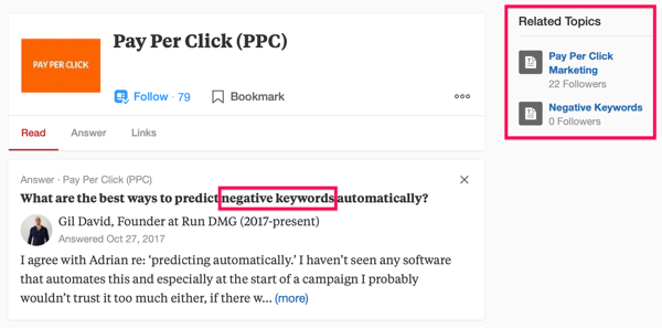 Example of Quora search result including the search term 'PPC' and the phrase 'negative keywords'.