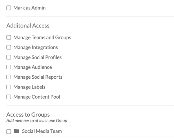 Set the access level for your Socialbrew team member.