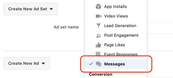 Hoe leads te krijgen met Facebook Messenger-advertenties, berichten ingesteld als de bestemming op het niveau van de advertentieset