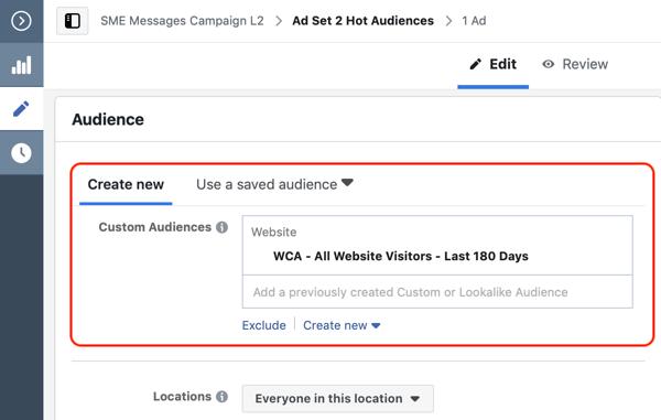 Hoe websitebezoekers te converteren met Facebook Messenger-advertenties, stap 2, aangepaste doelgroep voor de website maken