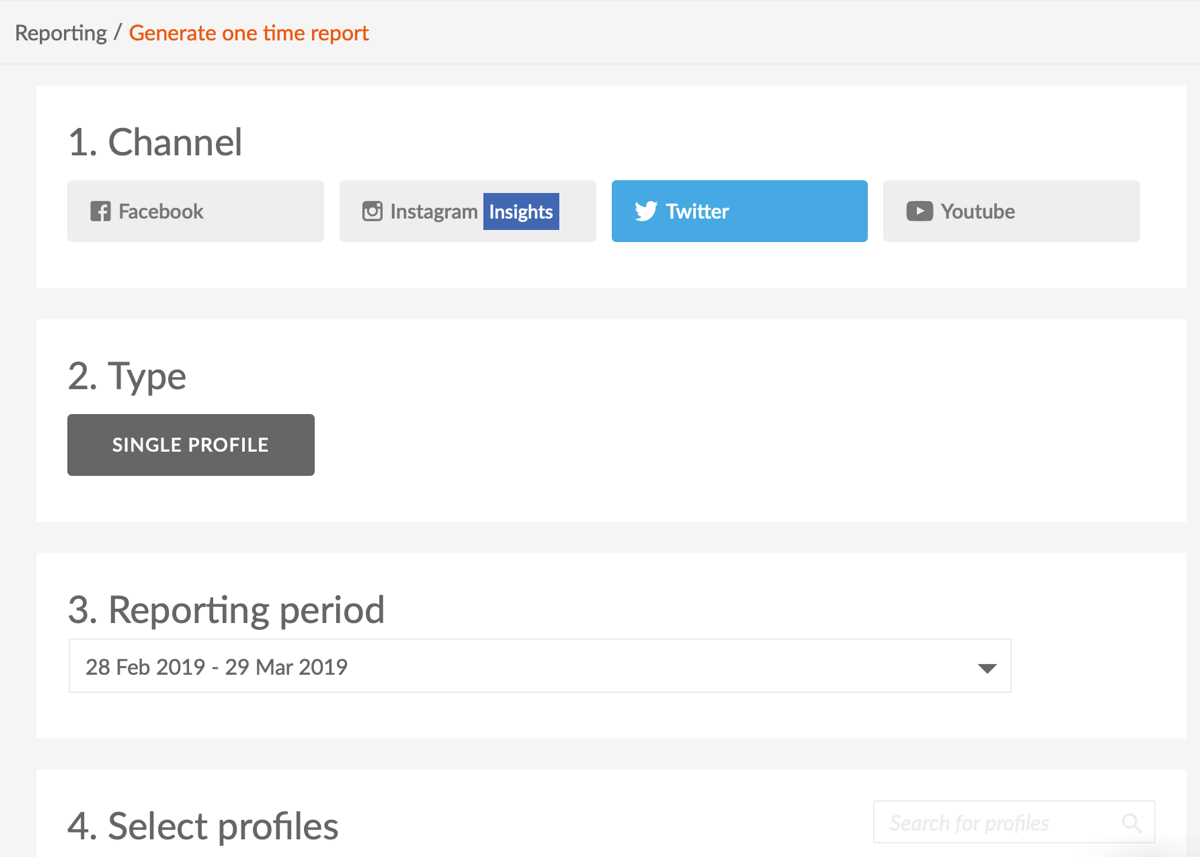 Measure marketing results, benchmark social channel performance vs. competitors, step 13, options to select or set for your social report in Sotrender