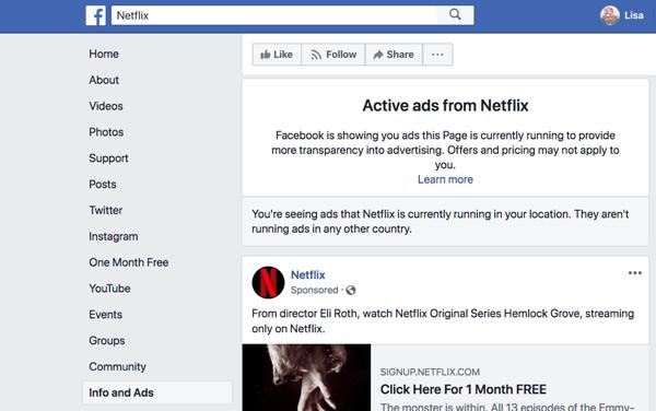 La scheda Informazioni e annunci di Facebook mostra gli annunci in esecuzione su una pagina Facebook.