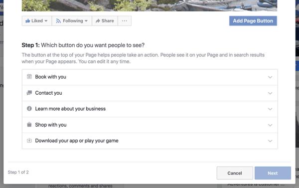 Passaggio 1 per creare il pulsante di invito all'azione della pagina aziendale di Facebook.