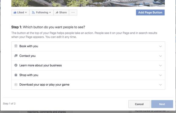 الخطوة 1 لإنشاء زر الحث على اتخاذ إجراء في صفحة العمل على Facebook.
