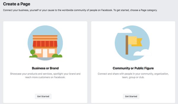 Passaggio 1 per creare la pagina aziendale di Facebook.