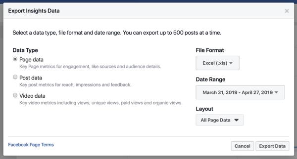Esporta i tuoi dati di Facebook Insights per semplificare l'analisi dei dati.