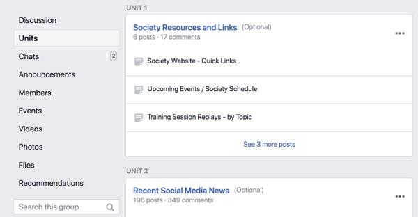 Le unità del gruppo di Facebook ti consentono di utilizzare il tuo gruppo come piattaforma per l'educazione online o di organizzare i tuoi post per argomento