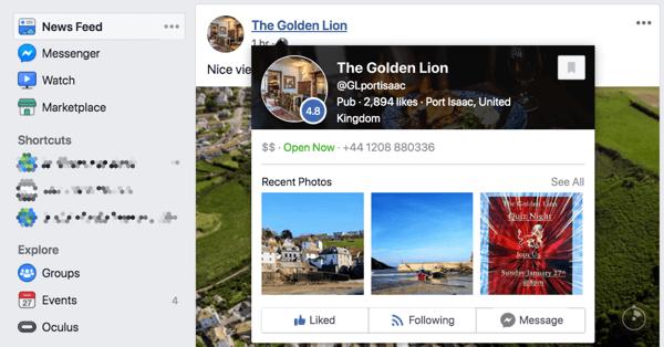 Quando qualcuno passa sulla tua pagina Facebook nel feed delle notizie, visualizza un'anteprima della pagina.