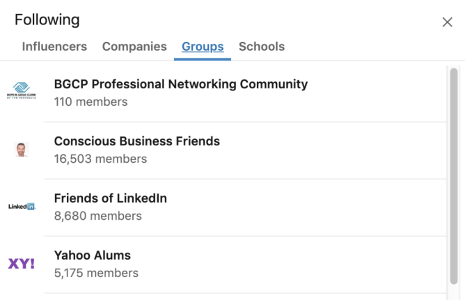 LinkedIn profile expanded Interests box with Group tab selected