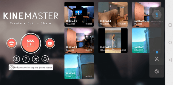 الشاشة الرئيسية لتطبيق المحمول KineMaster