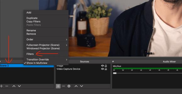 حدد خيار عوامل التصفية للمشهد في OBS Studio