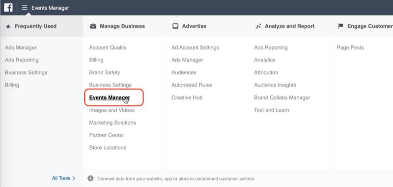 Event Manager-Option im Facebook Ads Manager