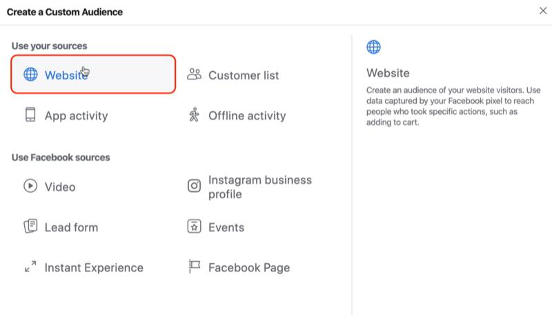 Wählen Sie Website als Quelle für die benutzerdefinierte Facebook-Zielgruppe