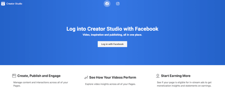 Facebook Creator Studio login page