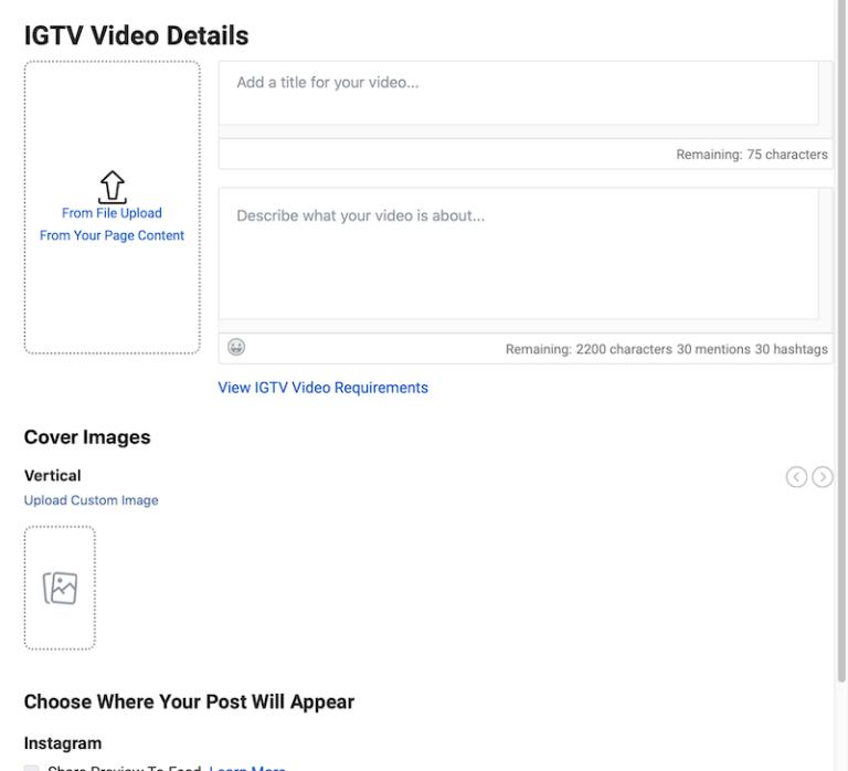 create IGTV post in Creator Studio