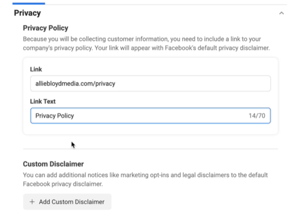 facebook lead ads create new lead form option to link to a privacy policy and a custom disclaimer