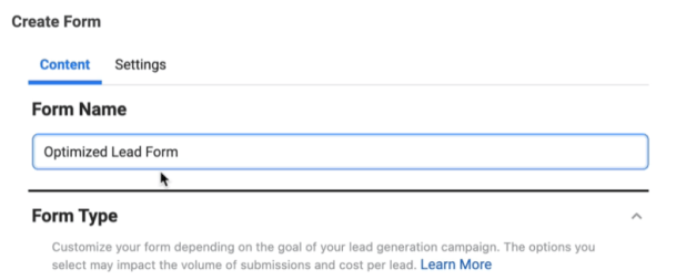facebook lead ads create new lead form option to name your form and select form type