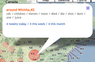 Related words used in Tweets about Swine Flu in Wichita, Kan., appear when clicking on the conversation circle for that area.