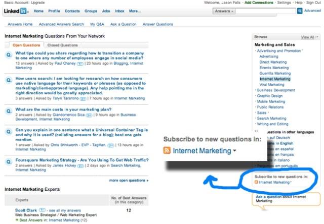 LinkedIn Internet Marketing Answers Page