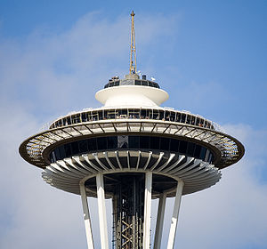 The top of the Space Needle in Seattle, Washington