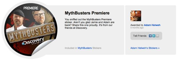 MythBusters Premier Sticker on GetGlue